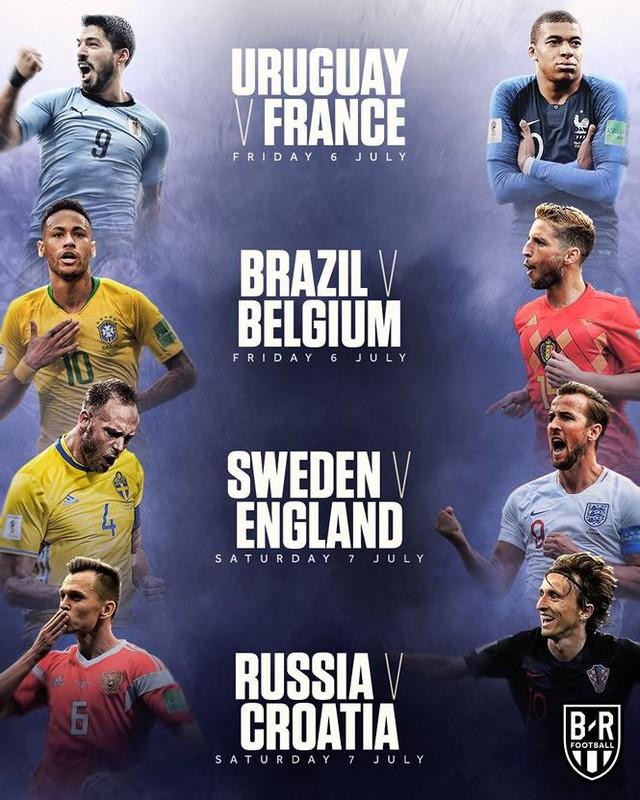 Chi tiết lịch thi đấu vòng tứ kết World Cup 2018 - Ảnh 1.