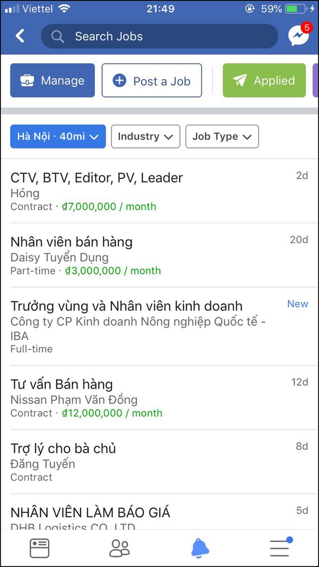 Facebook Việt Nam mới có mục tìm việc nhanh: Nghề chuẩn sinh viên không thiếu, thông tin liên hệ làm việc dễ dàng - Ảnh 3.