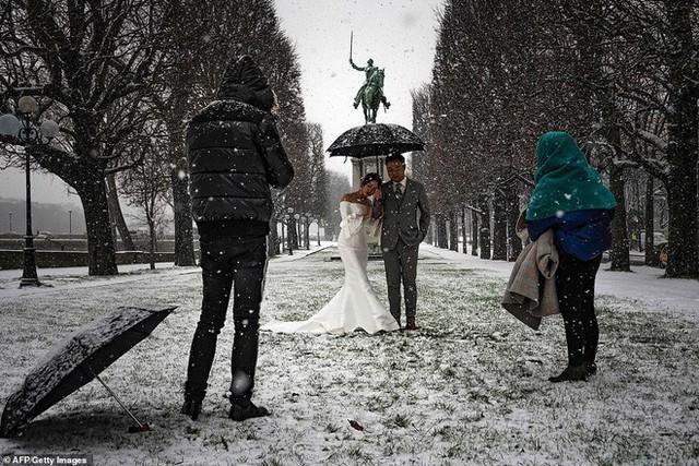 Paris đón tuyết đầu mùa sau nhiều tuần căng thẳng: Kẻ lãng mạn xuống phố, người cô đơn chống chọi giá rét - Ảnh 7.