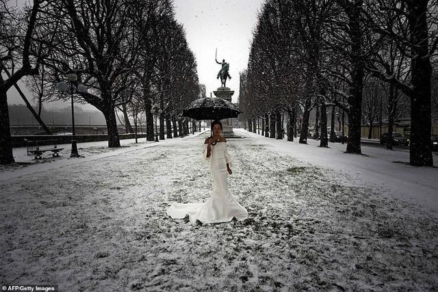 Paris đón tuyết đầu mùa sau nhiều tuần căng thẳng: Kẻ lãng mạn xuống phố, người cô đơn chống chọi giá rét - Ảnh 8.