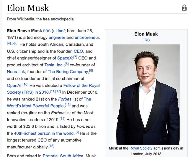 Elon Musk tự xem bài viết về mình trên Wikipedia, đề nghị sửa một loạt thông tin không chính xác - Ảnh 1.