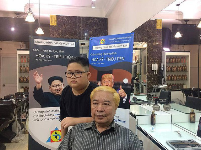 [Góc nhanh trí] Một salon tóc ở Hà Nội nhận cắt miễn phí kiểu tóc Kim Jong-un và Donald Trump, nhân dịp hội nghị thượng đỉnh Mỹ - Triều sắp diễn ra - Ảnh 2.