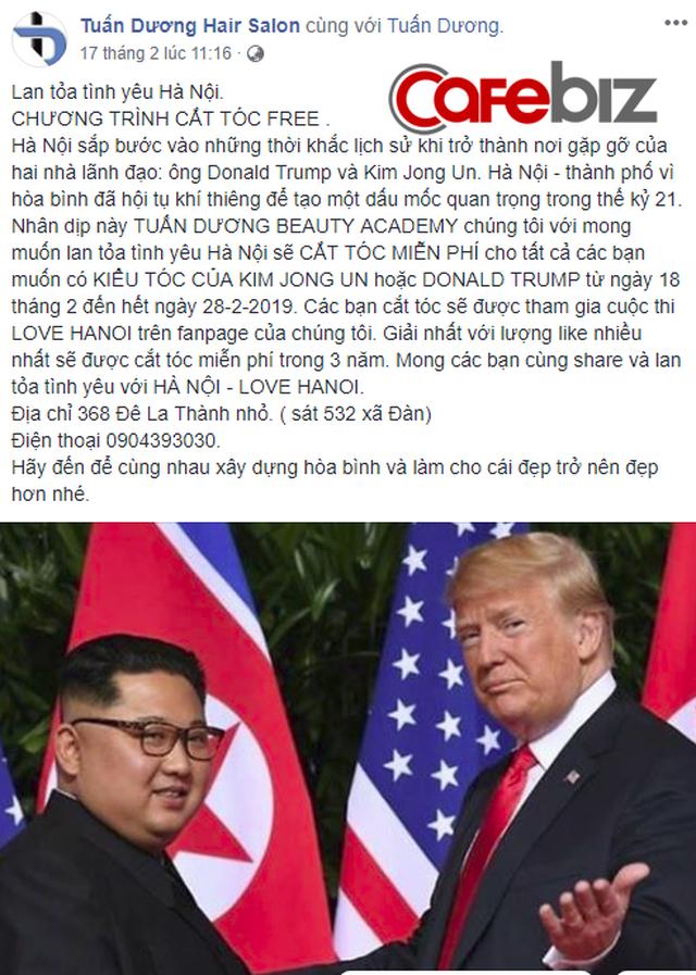 [Góc nhanh trí] Một salon tóc ở Hà Nội nhận cắt miễn phí kiểu tóc Kim Jong-un và Donald Trump, nhân dịp hội nghị thượng đỉnh Mỹ - Triều sắp diễn ra - Ảnh 1.