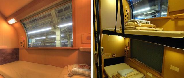 Tàu hỏa xuyên đêm ở Nhật Bản: Bên ngoài cũ kĩ đơn sơ, bên trong nội thất tiện nghi bất ngờ - Ảnh 8.