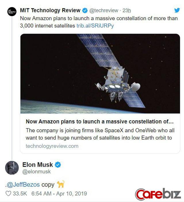 Elon Musk vừa 'troll' Jeff Bezos trên Twitter, gọi ông chủ Amazon là 'đồ bắt chước' - Ảnh 1.