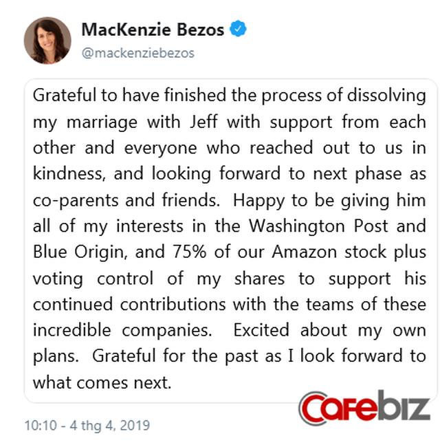 Tỷ phú Jeff Bezos biết ơn vợ cũ vì đồng ý với tỷ lệ cổ phiếu 75:25 và nhường lại quyền bỏ phiếu tại Amazon, Blue Origin - Ảnh 2.