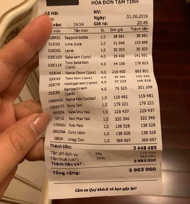 Khách tố đi ăn sushi 7 triệu, riêng tiền trà 1 triệu: Nhân Sushi Kim Mã phản ứng bất ngờ - Ảnh 2.