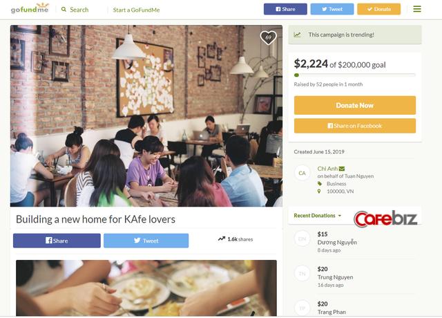 Đặt mục tiêu gọi 200.000 USD để mở lại The KAfe, sau 1 tháng Đào Chi Anh mới nhận về 1% con số đề ra - Ảnh 1.