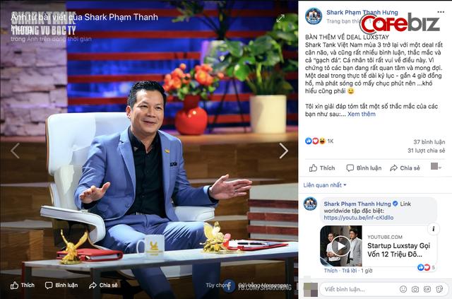 Sau Shark Việt, đến lượt Shark Hưng hóa giải tất tật gạch đá về thương vụ Luxstay: Có biết startup trước pitching? Vì sao Luxstay chấp nhận bán 2% cổ phần với giá 1 USD? - Ảnh 2.