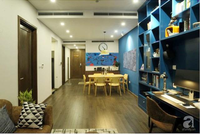 Căn hộ 90m² đẹp hiện đại với điểm nhấn màu xanh rất nam tính, có chi phí thi công 280 triệu đồng ở Hà Nội - Ảnh 5.