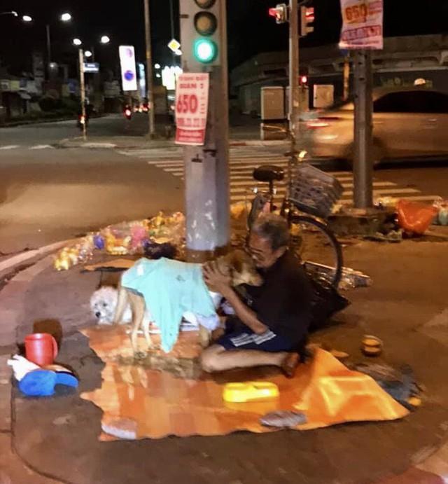 Hình ảnh cay mắt ở góc phố Sài Gòn: Cụ ông vô gia cư nhường áo, bón từng thìa thức ăn cho 2 con chó bị bỏ rơi - Ảnh 2.