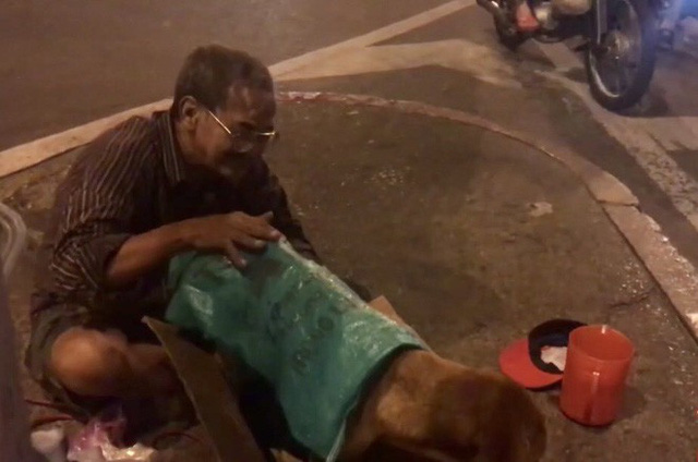 Hình ảnh cay mắt ở góc phố Sài Gòn: Cụ ông vô gia cư nhường áo, bón từng thìa thức ăn cho 2 con chó bị bỏ rơi - Ảnh 4.