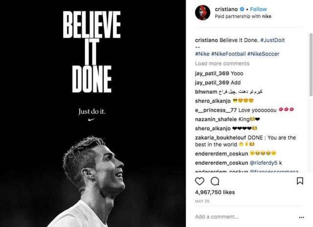 Ronaldo, ngôi sao vàng trong làng đại sứ: Sức mạnh từ mạng xã hội hơn 300 triệu người theo dõi, mỗi bài đăng thu về 750.000 USD, tạo ra 1,6 triệu USD giá trị cho nhà tài trợ - Ảnh 5.