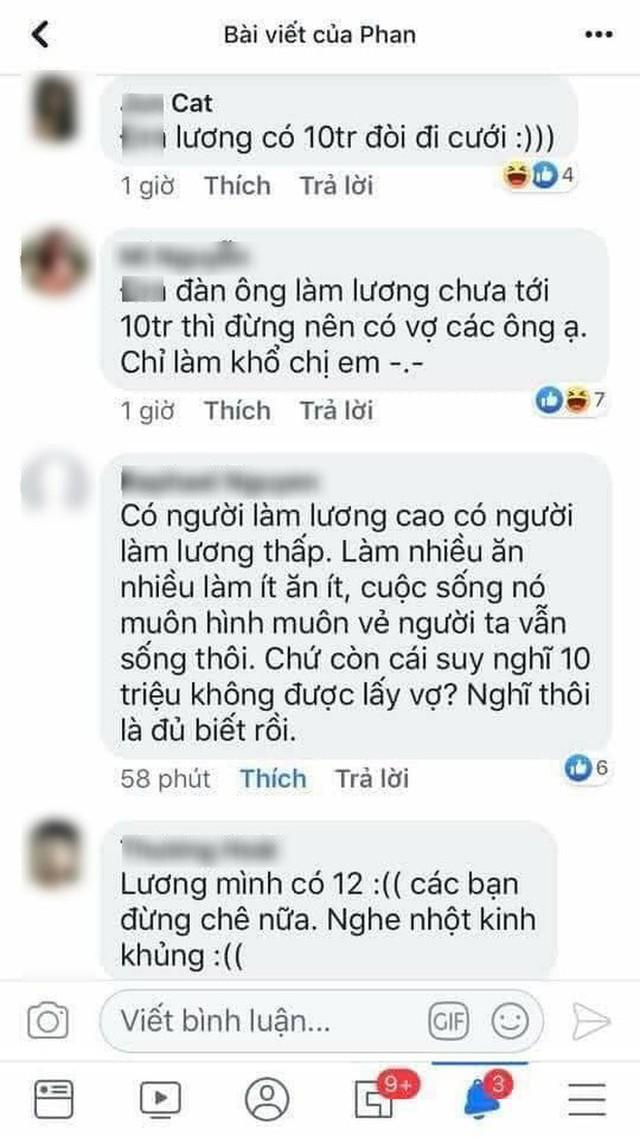 Đàn ông lương tháng 10 triệu mà đòi cưới vợ? - câu nói của cô gái gây tranh cãi trên mạng xã hội - Ảnh 2.