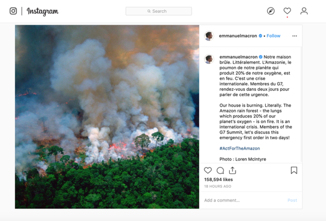"""- photo 2 15667941704941731779375 - Dàn sao """"nhầm nhọt"""" đăng status về cháy rừng Amazon: Ronaldo chọn sai ảnh, Dicaprio và Madonna lấy nguồn từ vài chục năm trước"""