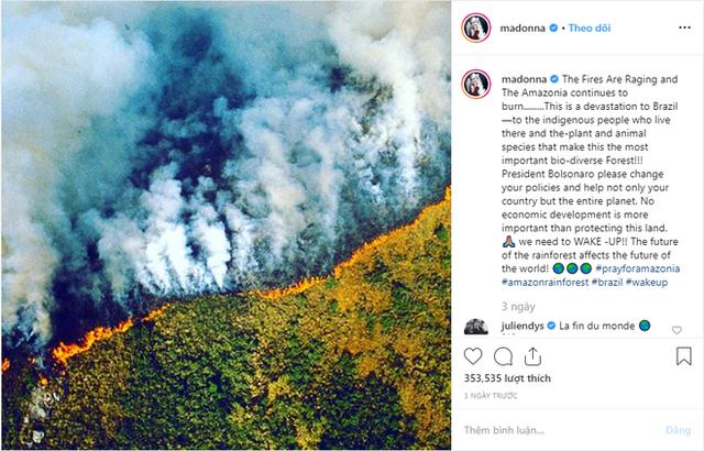 """- photo 4 15667941704981421937727 - Dàn sao """"nhầm nhọt"""" đăng status về cháy rừng Amazon: Ronaldo chọn sai ảnh, Dicaprio và Madonna lấy nguồn từ vài chục năm trước"""