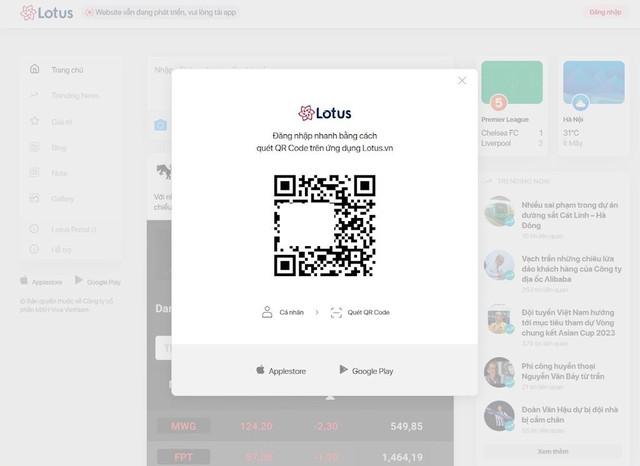 Hướng dẫn đăng nhập mạng xã hội Lotus trên bản web - Ảnh 2.
