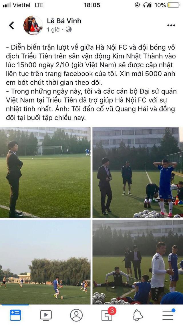 hà nội fc - photo 1 15698099039311555793387 - Đại sứ Việt Nam tại Triều Tiên làm điều chưa từng có cho trận đấu lịch sử của Hà Nội FC
