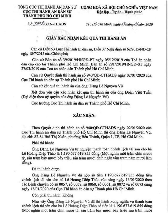 Ông Đặng Lê Nguyên Vũ đã nộp xong gần 1.200 tỷ thi hành án - Ảnh 1.
