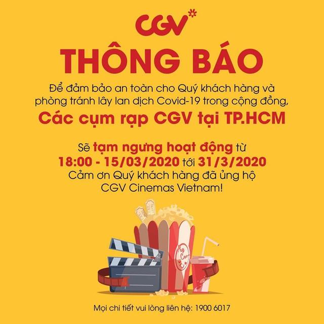 CGV đóng cửa toàn bộ cụm rạp trong TPHCM để tránh lây lan dịch Covid-19 - Ảnh 1.