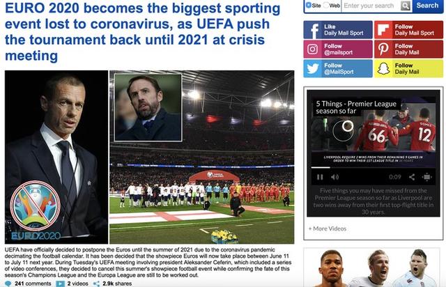 Truyền thông thế giới sốt vì EURO lẫn Copa America 2020 cùng bị hoãn  - Ảnh 3.