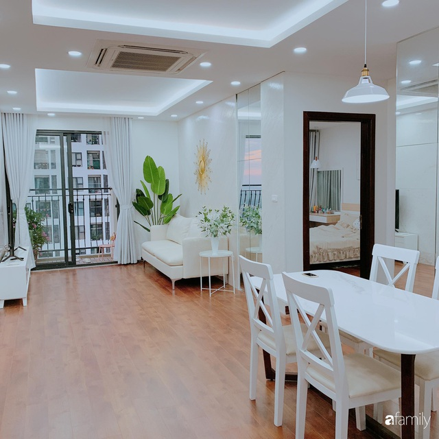 Căn hộ 90m² như được nhân đôi không gian nhờ cách decor khéo léo với sắc trắng ở Hà Nội - Ảnh 3.