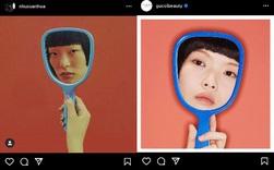 Gucci bị nghệ sĩ gốc Việt tố ăn cắp ý tưởng: Đạo nhái hình gốc từ năm 2016, giống từ cách chụp cận mặt người mẫu qua chiếc gương tay, đến bố cục, phông nền