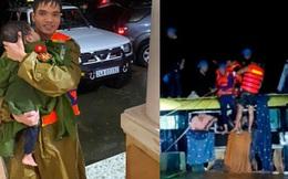 Vụ giải cứu 18 người mắc kẹt trong xe khách bị nước lũ cuốn trôi: Ấm lòng hình ảnh chiến sĩ công an cởi áo để ủ ấm, vỗ về bé trai 2 tuổi