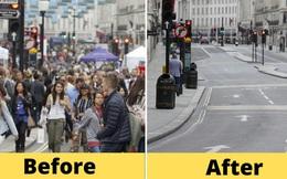 Loạt ảnh Before - After cho thấy London vắng lặng đến 'siêu thực' sau lệnh phong tỏa để chống dịch Covid-19
