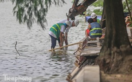 Cận cảnh 3 mũi thi công ngày đêm chỉnh trang, kè hồ Hoàn Kiếm