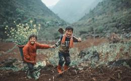 """2 bé H'Mông cặm cụi cuốc đất, gieo hạt phụ bố mẹ và nụ cười khiến bao người """"tan chảy"""""""