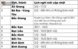 Cập nhật: Lịch nghỉ Tết mới nhất của 63 tỉnh, thành để phòng chống dịch Covid-19