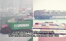 'Học theo' tàu Ever Given, xe container Ever Green mắc kẹt trên cao tốc khiến giao thông tê liệt