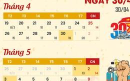 Lịch nghỉ lễ Giỗ Tổ Hùng Vương, 30/4 và 1/5 và chế độ tiền lương làm thêm giờ của người lao động