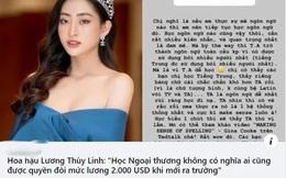 """Câu: """"Sinh viên Ngoại thương không được quyền đòi lương 2.000 USD"""" bị chê bai, cả Lương Thùy Linh lẫn Hà Việt Hoàng lên tiếng đáp trả cực gắt"""
