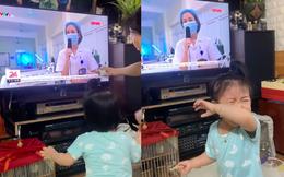 Bé gái khóc nức nở khi thấy mẹ trên tivi: Mẹ em là bác sĩ tham gia chống dịch ở Bắc Giang