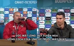 Không hắt hủi như Ronaldo, HLV tuyển Nga bật nắp, uống Coca Cola ngay trong họp báo