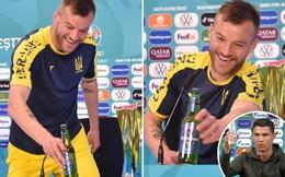 """Cao thủ không bằng tranh thủ: Sao Ukraine """"cà khịa"""" Ronaldo khi họp báo, kêu gọi Coca-Cola và Heineken liên hệ quảng cáo với mình"""