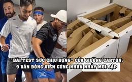 Cần tới 9 người trưởng thành nhún nhảy cùng lúc mới làm sập được chiếc giường 'chống quan hệ' bằng bìa carton tại Olympics 2020