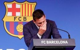 Con trai Messi cười đùa khi cha khóc cạn nước mắt trong họp báo chia tay Barcelona