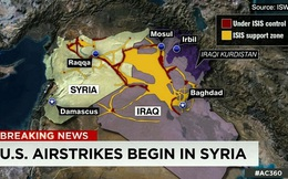Nóng: Mỹ và đồng minh bắt đầu tấn công IS ở Syria