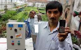 Bấm điện thoại để tưới rau