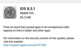 Apple phát hành iOS 9.3.1: Diệt tận gốc lỗi treo Safari, Messages, Mail, Notes