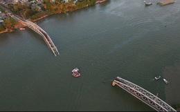 Cầu Ghềnh trước và sau khi sập nhìn từ flycam