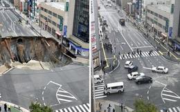 Đường xuất hiện hố tử thần rộng 30m2, sâu 15m và người Nhật chỉ mất đúng 2 ngày để sửa lại như mới
