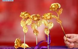 Hồng dát vàng, quà tặng Valentine phổ biến ở Trung Quốc
