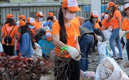 Hà Nội: Hơn 100 sinh viên bới nhặt rác thải chất đống trên đường Phạm Văn Đồng