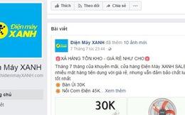 Giả mạo fanpage Điện máy Xanh bán hàng giá rẻ giật mình