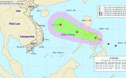 Áp thấp nhiệt đới giật cấp 8 tiến thẳng Biển Đông