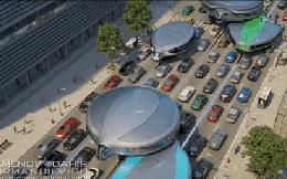 Concept xe bus của tương lai tránh tắc đường, đi bằng hai bánh trên đầu các phương tiện khác
